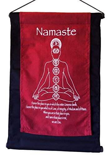Cotton Namaste and Seven Chakra Inspirational Yoga Banner Scroll Style Three Color Choice (Red)