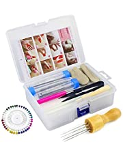 Needle Felting Kit Wool Felting Tools Kit - Felting Needles, Needle Felting Foam, Scissors, Wooden Handle, Awl, Glue Stick, Finger cots, Great for DIY Felting Wool Projects