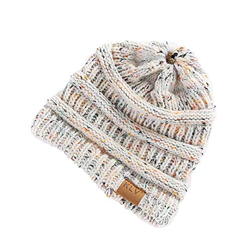 HGWXX7 Women Warm Baggy High Bun Ponytail Crochet Knit Artificial Wool Winter Ski Beanie Skull Caps Hat(One Size,White)