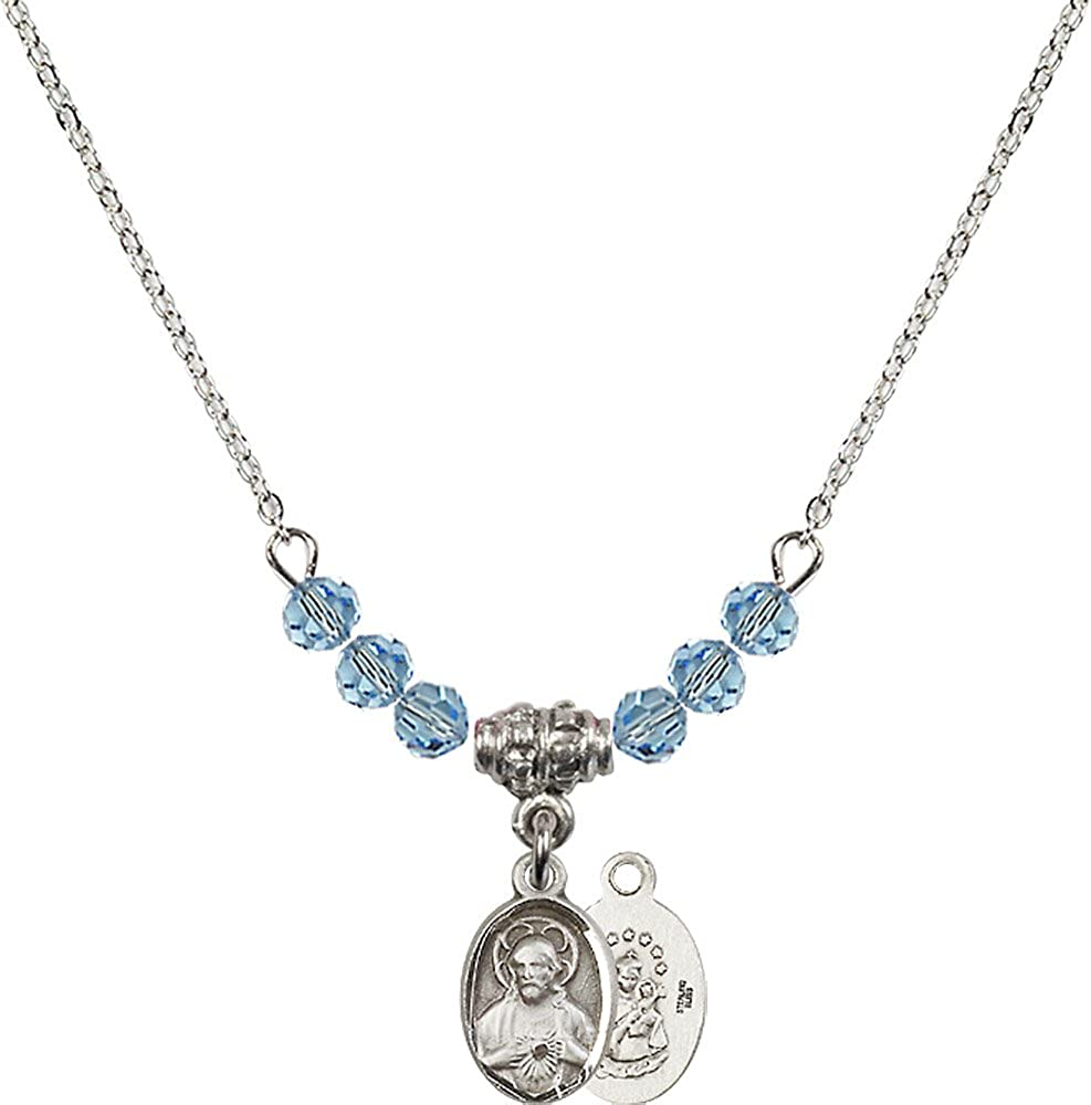 18-Inch Rhodium Plated Necklace with 4mm Aqua Birthstone Beads and Sterling Silver Scapular Charm.