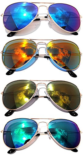 Classic Metal Aviator Sunglasses Mirror Lens Gold, Silver Color Frame 4 Pairs OWL. Classic Metal Frame Sunglasses
