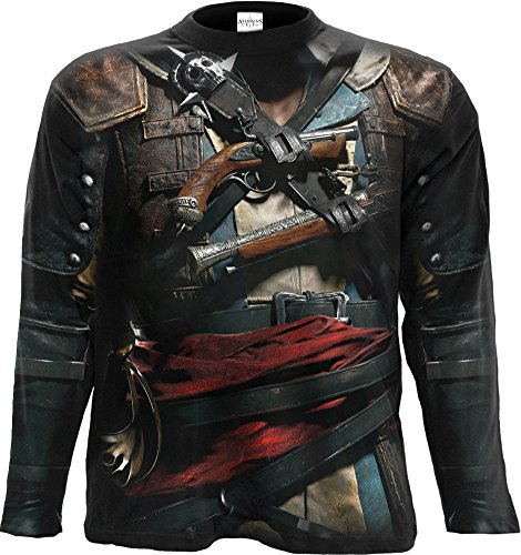 Spiral - Mens - Assassins Creed IV Black Flag - Allover Licensed Longsleeve T-Shirt Black - ()