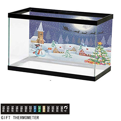 (Jinguizi ChristmasFish Tank BackdropWinter Season Snowman Xmas Tree Santa Sleigh Moon Present Boxes Snow and Stars30 L X 12