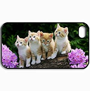 Customized Cellphone Case Back Cover For iPhone 4 4S, Protective Hardshell Case Personalized Curious Kittens Black