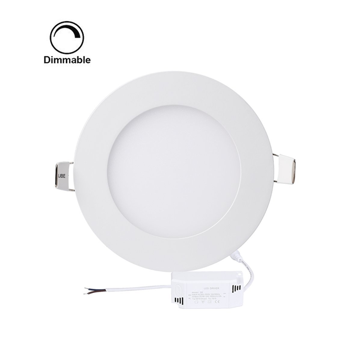 ProGreen 12W Flat LED Panel Light Lamp, Dimmable Round Ultrathin LED Recessed Downlight, 960lm, Cold White 5000K, Cut Hole 6.1 Inch, Panel Ceiling Lighting with 110V LED Driver