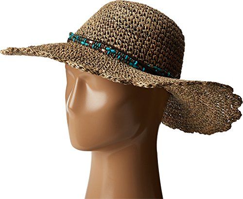 SCALA Women's Crochet Seagrass with Beads Natural One Size ()