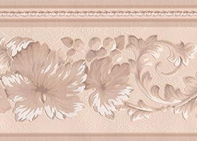 Beige White Lace Floral Wallpaper Border Retro Design, Roll 15' x 7''