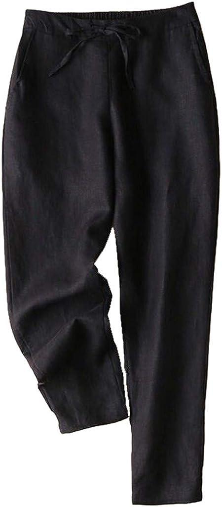 Hose Leinen Damen Einfarbig Schick Elegant Freizeithosen Frauen mit Kordel Hosen