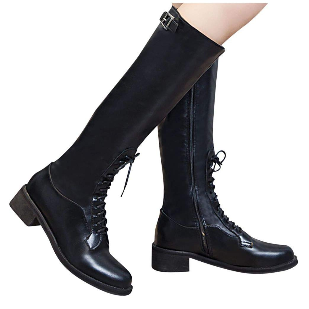 Opinionated Women Leather Boots, Ladies Fashion Ink Painting Flower Pattern Cow Splicing Lace-Up Stitching Ankle Boots Black by Frunalte Women Shoes