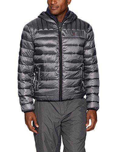 Tommy Hilfiger Men's Ultra Loft Insulated Packable Jacket with Contrast Bib and Hood, Graphite/Midnight, XXL