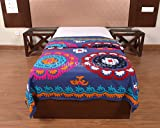 Indian suzani Bed Cover, Embroidery Cotton Bedspread, Decorative Twin Bed Sheets, Handmade Home Decor, Ethnic Bedding Throw (Pattern 1)
