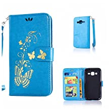 CUSKING Galaxy Core Prime Case, Leather Wallet Case for Samsung Galaxy Core Prime Magnetic Flip Folio Lifeproof Protective Skin Case Golden Butterfly Pattern Design Back Cover with Card Holder - Blue