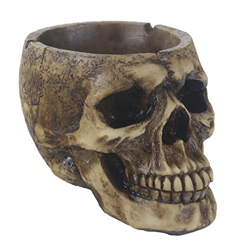 JHP Ashtray, Ash Holder Smokers, Death Curse Metallica Human Skull Ashtray, Hand-Painted Gothic Style Cigarette Ashtray for Indoor Outdoor (Brown)