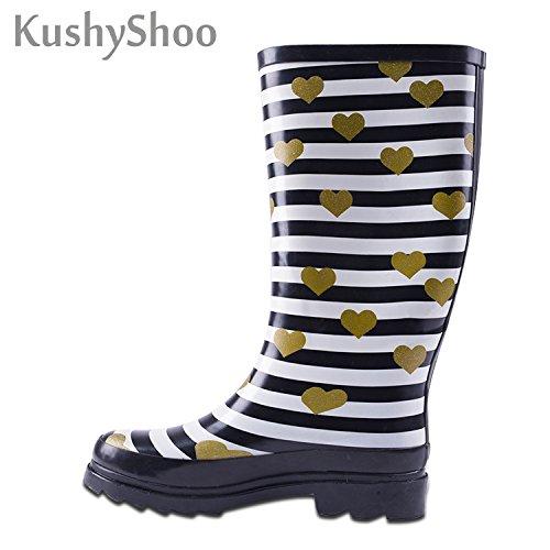 Boots Calf Mid KushyShoo Women's Rain Rubber Waterproof zBxY1qw
