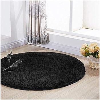 Amazon Com Yj Gwl Ultra Soft Round Black Area Rugs For