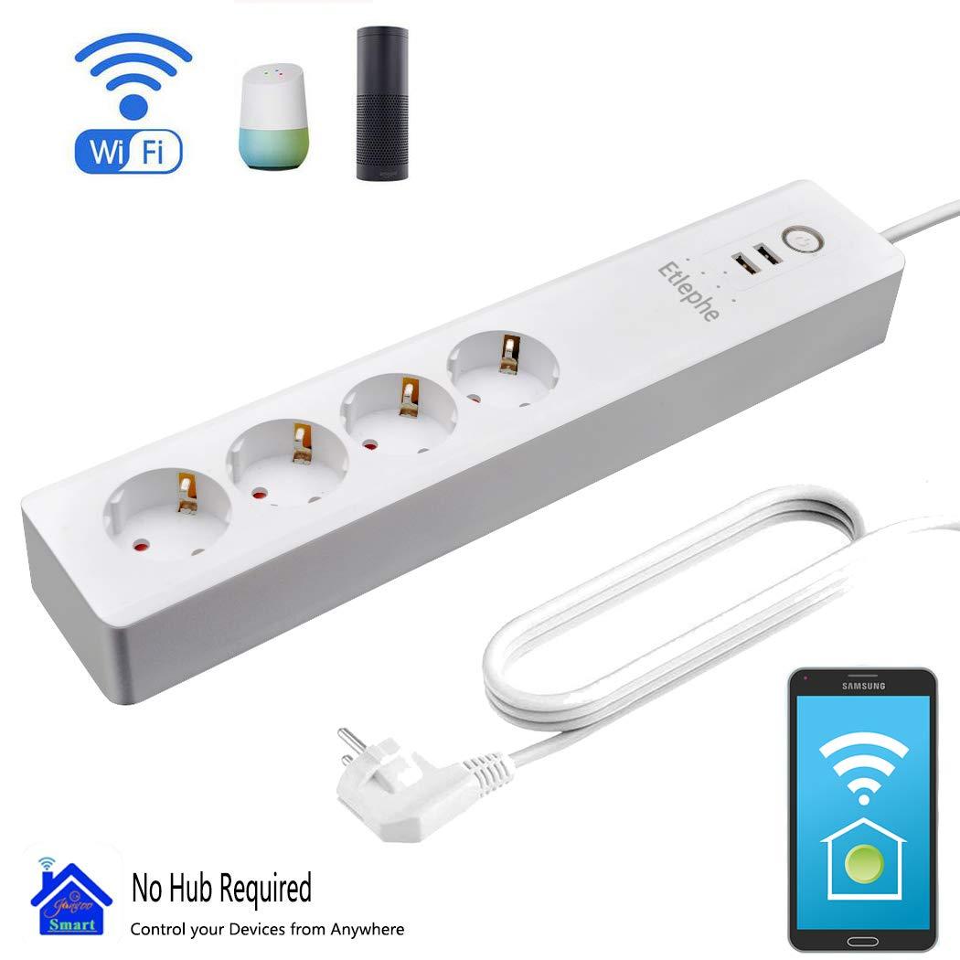 Smart Steckdosenleiste Fernbedienung, Etlephe Intelligente WLAN Mehrfachsteckdose mit Ü berspannungsschutz Wifi Steckdosen mit 4 AC-Ausgä nge,2 USB-Anschlü sse,Sprachsteuerung mit  ECHO Alexa