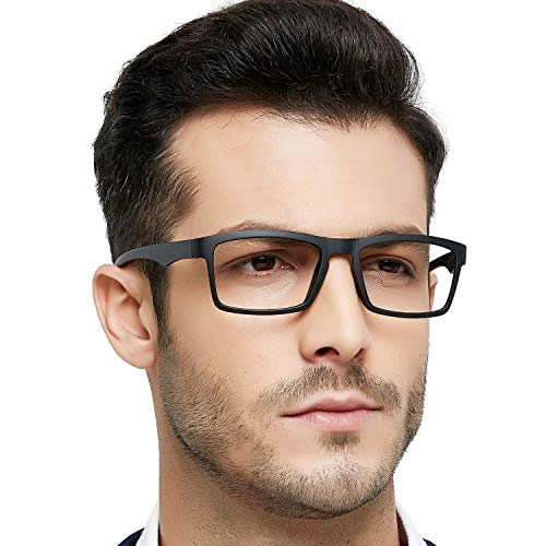 OCCI CHIARI Reading Glasses TR90 Men Women Comfort Prescription Eyeglasses (+1,+1.5,+2.0,+2.5,+3.0,+3.5,+4.0) (Black, 4.0) (Light Two Glass Twenty)