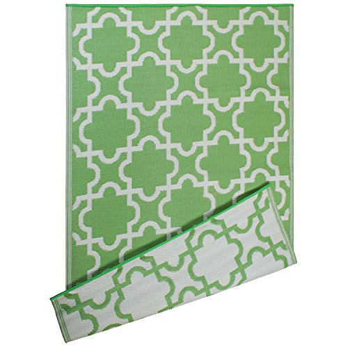 DII Moroccan Indoor/Outdoor Lightweight, Reversible, Fade Resistant Area Rug, Use for Patio, Deck, Garage, Picnic, Beach, Camping, BBQ, Or Everyday Use - 4 x 6', Bright Green Lattice by DII