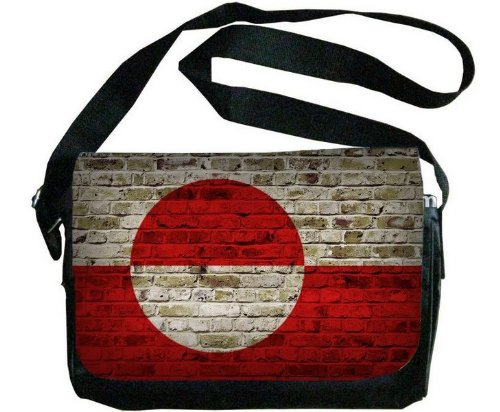 Greenland Flag Brick Wall Design Messenger Bag