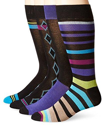 Papi Men's 4 Pack Stripe and Diamond Crew Sock, Purple/Blue, 10-13/Shoe Size 6-12