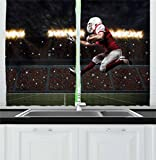 Lunarable Boy's Room Kitchen Curtains, Football Player in a Red Uniform Running on a Stadium Professional, Window Drapes 2 Panel Set for Kitchen Cafe, 55 W X 39 L Inches, Red White Olive Green For Sale