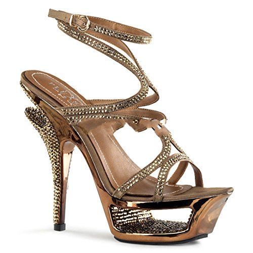 Pleaser Day & Night - Zapatos de vestir de satén para mujer marrón Bronze