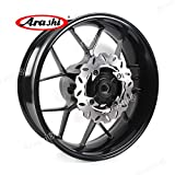 Arashi Rear Wheel Rim and Brake Rotor Disc Disk for HONDA CBR600RR 2007-2017 Motorcycle Accessories CBR 600 RR CBR600 600RR 600CC Black 2008 2009 2010 2011 2012 2013 2014 2015 2016