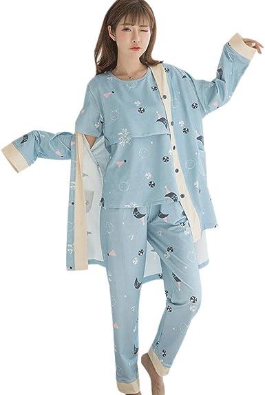 DAZISEN Conjunto de Pijama de Maternidad para Mujer - Pijamas de Maternidad y Lactancia Ropa de Dormir Prenatales y Postparto de 3 Piezas
