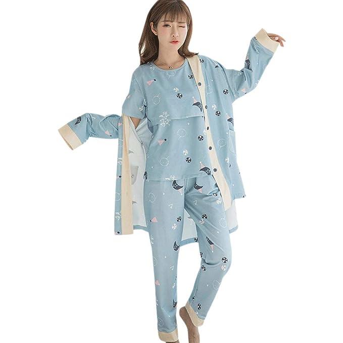 5b1bed2ad XFentech Verano Conjunto de Pijama de Maternidad para Mujer - Ropa de  Dormir Maternidad y Lactancia Pijamas Prenatales y Postparto de 3 Piezas   Amazon.es  ...