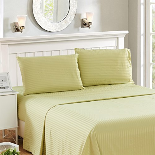 4 Piece Deep Pocket Stripe Bed Sheets Set, HOTEL LUXURY 1800