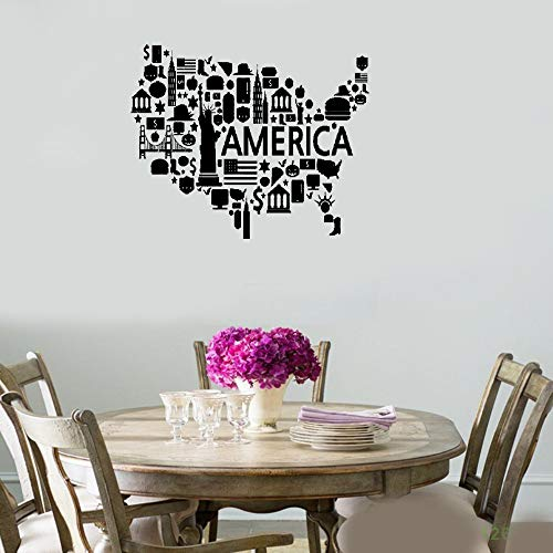 Quotes Art Decals Vinyl Removable Wall Stickers USA Map Famous Places Landmarks America Coolest