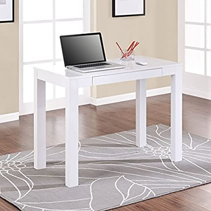 Amazon.com : Slim White Writing Desk, Perfect Simple U0026 Stylish Sleek  Design, This Wooden Computer Desk Is Ideal For Dorm Rooms And Classic  Households ...