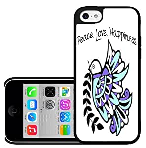 Teal and Purple Peace Love Happiness Tribal Dove Hard Snap on Phone Case (iPhone 5c) by lolosakes