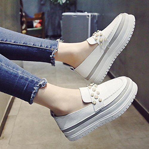 KHSKX-Autumn 3.5Cm Thick Pine Cake Shoes The Korean Version Of The Wild Pearl Stream Shoes Small White Shoes Women'S Shoes Tide 38 DS9ShA