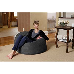 Chill Sack Bean Bag Chair: Large 3' Memory Foam Furniture Bean Bag - Big Sofa with Soft Micro Fiber Cover - Charcoal Micro Suede
