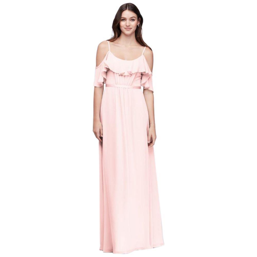 f5937e239fdb4 David's Bridal Cold-Shoulder Crinkle Chiffon Bridesmaid Dress Style F19508,  Petal, 4