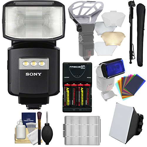 Sony Alpha HVL-F60RM Radio-Control Wireless Flash with Video Light + Soft Box + Bouncer + Color Gels + Batteries & Charger + Monopod - Charger Gel