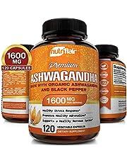 NutriFlair Ashwagandha Capsules 1600mg, 120 Vegan Pills (Made with Ashwagandha and Black Pepper) - Root Powder Supplement