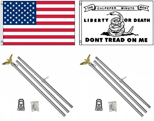3'x5' US AMERICAN and CULPEPER MINUTE MEN DON'T TREAD ON ME