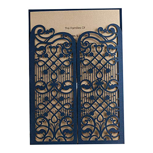 50 WISHMADE Navy Blue Elegant Laser Cut Gate Fold Design Wedding Engagement Invitation Kits Cards Stock, for Bridal Shower Graduation Party Quinceanera Dinner Party with Envelope CW5102 ()