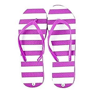 DollarMaxVI Women's Flip FLops Striped Magenta (Medium)