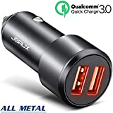 Car Charger, JSAUX Quick Charge 3.0 3A Dual USB Ports 36W Fast Car Charger Adapter Aluminum Metal for Samsung Galaxy S9 S8 Plus Note 9 8 S7, iPhone X 8 7 6S 6, iPad Air Mini, LG G7 V30 G5 G6 V20, Moto