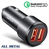 Car Charger, JSAUX Quick Charge 3.0 3A Dual USB Ports 36W Fast Car Charger Adapter Aluminum Metal Compatible with Samsung Galaxy S9 S8 Plus Note 9 8 S7, iPhone X 8 7 6S 6, iPad, LG V30 G5 G6 V20, Moto