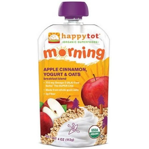 (Happy Tot Organic Apple Cinnamon Yogurt and Oats Breakfast Blend, 4 Ounce - 16 per case.)