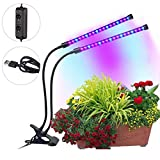 JARAGAR Dual Lamp Led Grow Light, 18W Dual Head Led Grow Light Bulbs Grow Lamp Plant Lights 36 Led with Red/Blue 2 Dimmable Levels 360 Degree Gooseneck for Indoor Plant Greenhouse Garden Home