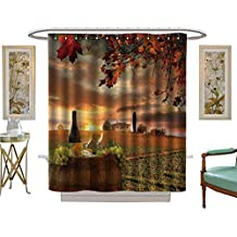 luvoluxhome Shower Curtains Fabric White Wine with Barrel on Vineyard in Chianti Tuscany Italy Bathroom Accessories W69 x L84