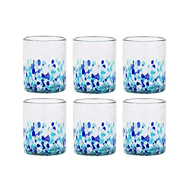 Amici Home 7MCR869S6R Bahia Double Old Fashioned Drinking Glass 12 Fluid Ounces Blue and White Ombre