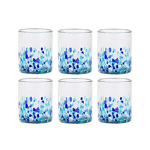 Amici Home 7MCR869S6R Bahia Double Old Fashioned Drinking Glass 12 Fluid Ounces Blue and White Ombre ()