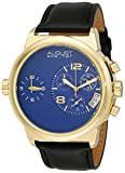 August Steiner Men's AS8151YGBU Yellow Gold Dual Time Zone Swiss Chronograph Quartz Watch with Blue Dial and Black Leather Strap