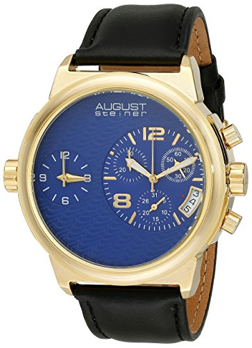 (August Steiner Men's AS8151YGBU Yellow Gold Dual Time Zone Swiss Chronograph Quartz Watch with Blue Dial and Black Leather Strap)